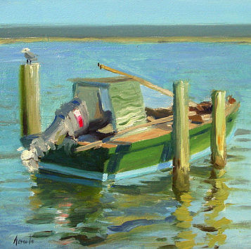 An oil painting of a docked oyster boat