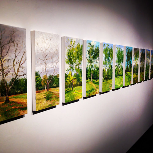 An installation view of Noah Verrier's 4 Seasons series