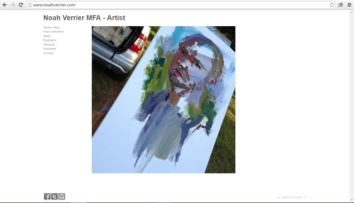 The front page of Noah Verrier's art website