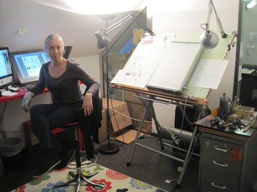 A photo of Jessica Abel in her studio