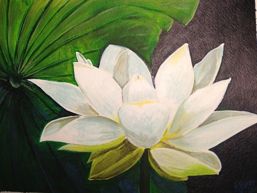 A painting of a white lotus flower
