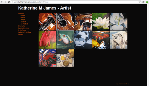 A screen capture of the online portfolio of Katherine James