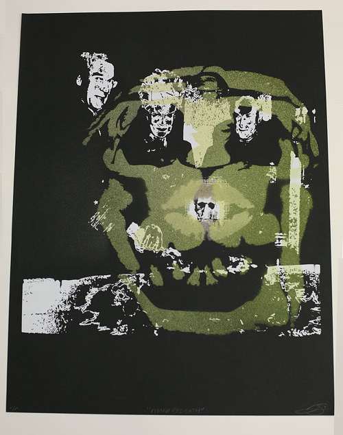A mono print of several layered images and spray paint