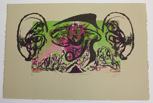A serigraph print with bright purple and green tones