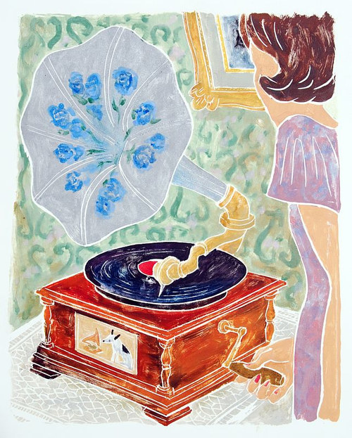 A wood cut print of a woman operating an old record player
