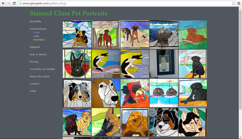 A gallery of dog-themed stained glass on Kevyn Cundiff's art website