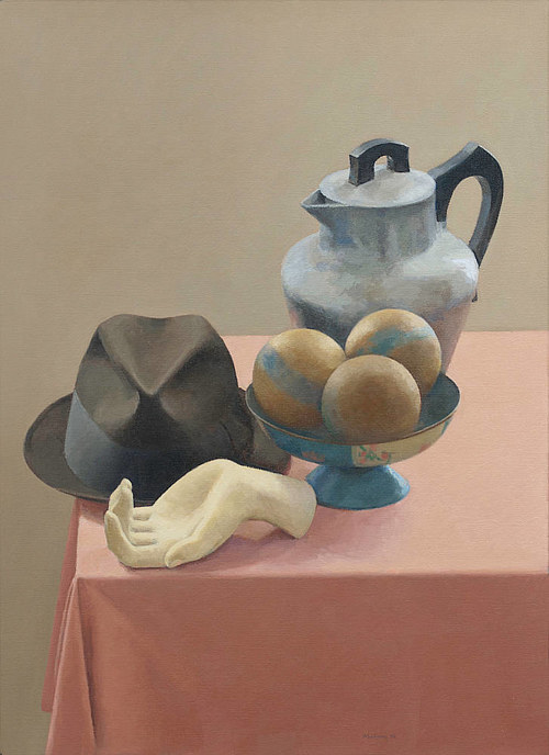 A still life painting of a hat and a ceramic hand on a table