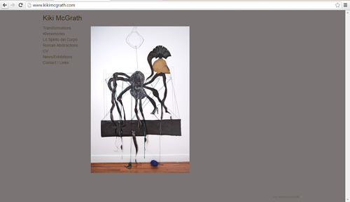 A screen capture of Kiki McGrath's art website