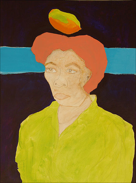 A painting of a person with a mango floating above them