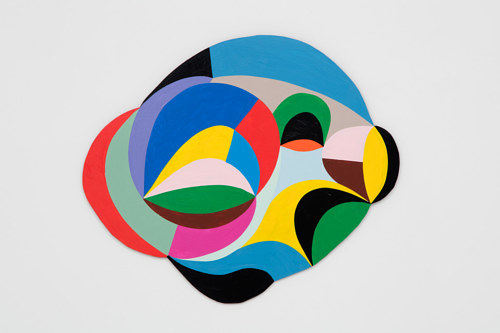 A bright abstract painting with planes of colour forming a single shape