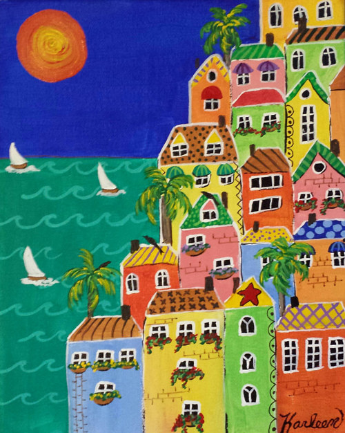 A painting of several houses on the sea shore