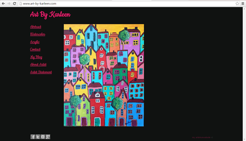 A screen capture of the front page of Karleen Kareem's website