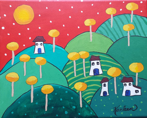 A painting of some small houses on hills