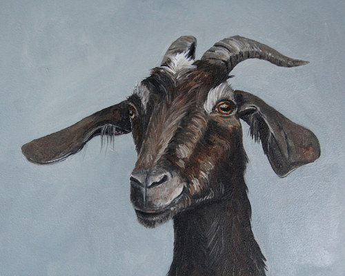 A portrait painting of a goat