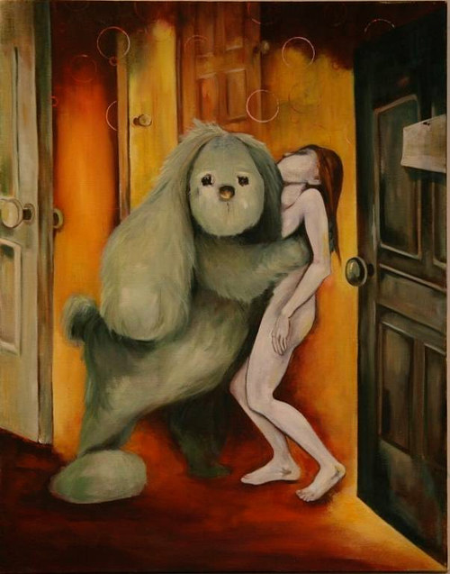 A painting of a large rabbit holding a young woman