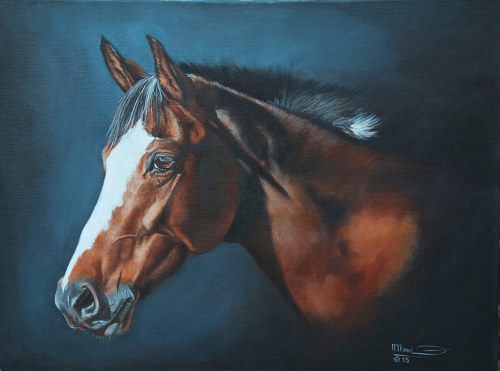 An oil painting of a horse on a black background
