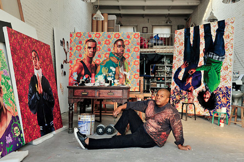 A photo of Kehinde Wiley in his Beijing studio