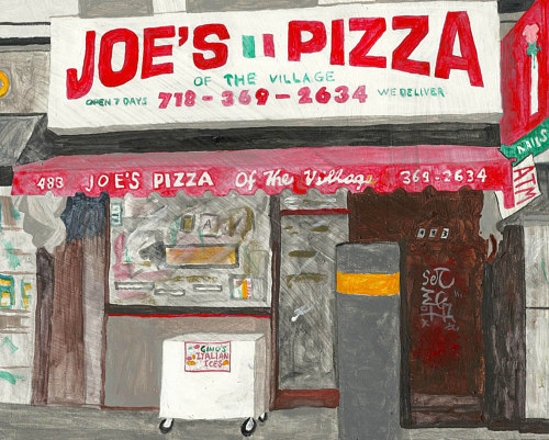 A painting of the front of a pizza parlour