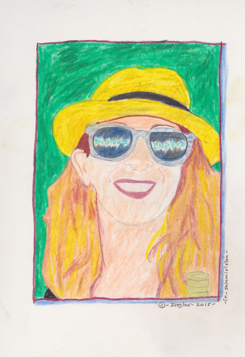 A portrait of a woman wearing sunglasses
