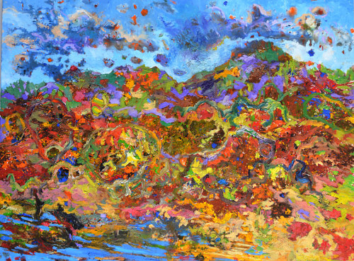 A painting of a landscape built from abstract brush marks