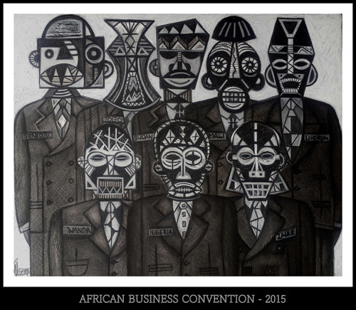 A mixed media drawing of figures in business suits with African masks for faces