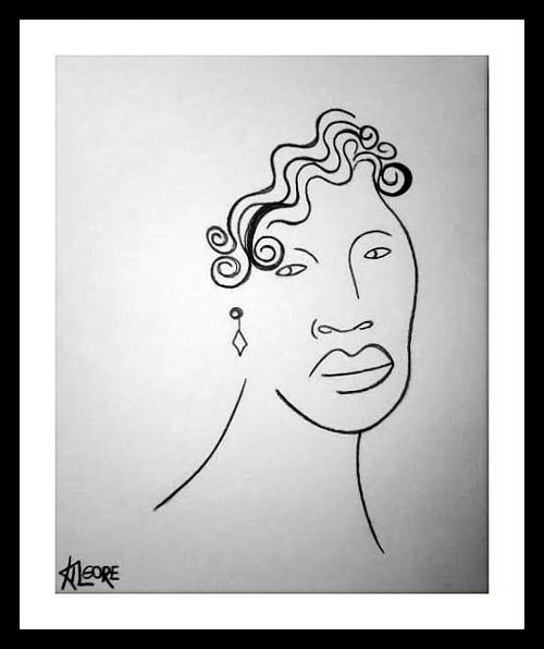 A simplified line drawing of Ella Fitzgerald