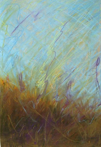 A pastel drawing of wild grasses