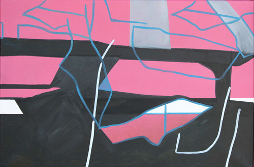 An abstract painting with the look of pink concrete
