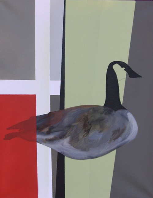 A painting of a goose on an abstracted urban background