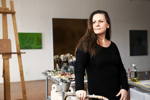 A photo of painter Lisa Yuskavage in her studio