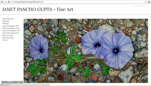 The front page of Janet Pancho Gupta's art website