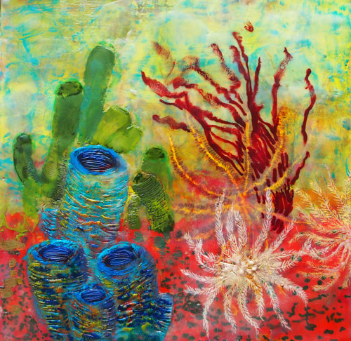 An encaustic painting of underwater sponges and corals