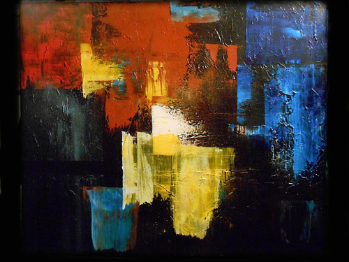 An abstract painting using blocks of color to mimic a city street