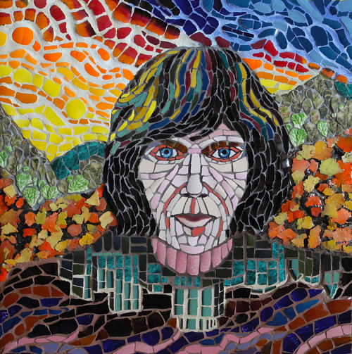 A mosaic work depicting Neil Young