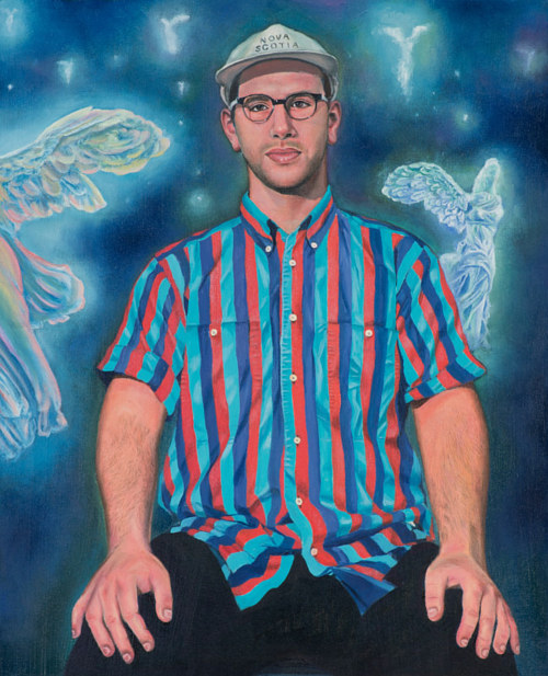 A painting of a young man with the goddess Nike behind him