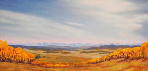 An oil painting of an expansive Alberta landscape