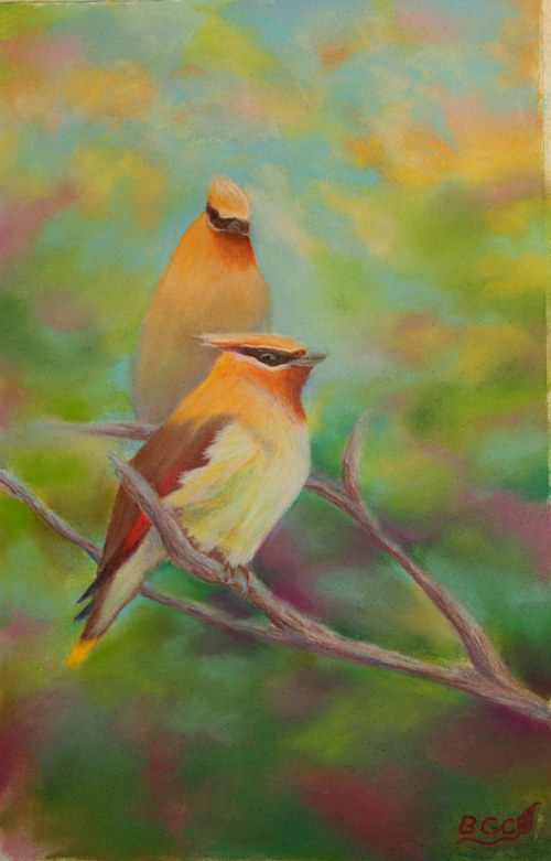 A pastel drawing of two birds sitting in a tree
