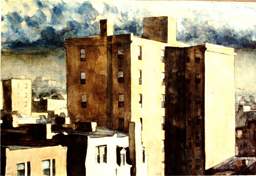 A watercolor painting of some apartment buildings