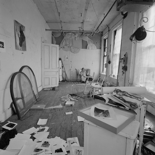 A photograph of Francesca Woodman's studio in 1976