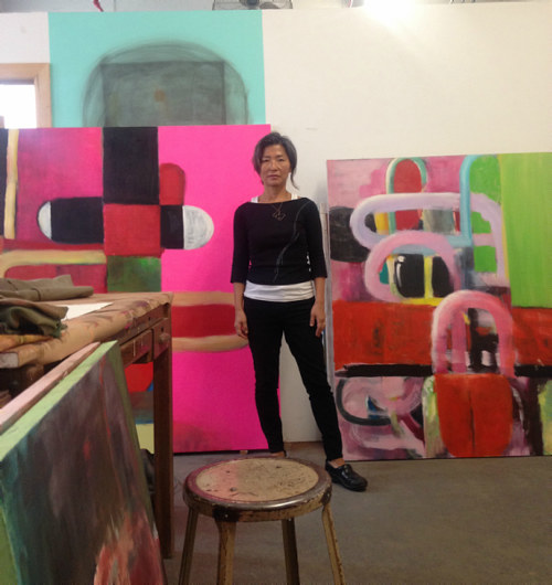 A photograph of Mie Yim in her New York studio