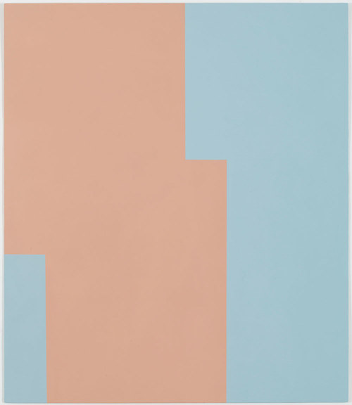 An abstract minimalist painting with squares of baby blue and pink