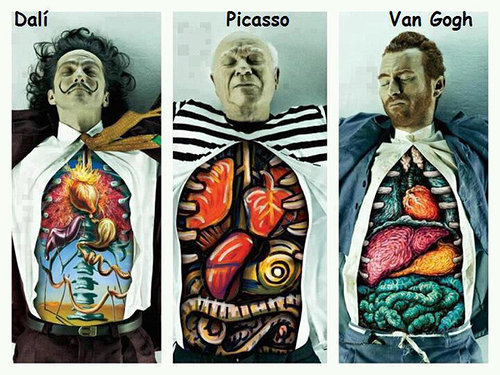 organs of dali, picasso, and van gogh