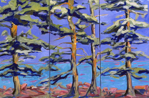 A painting of trees on three separate panels