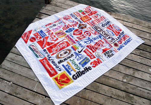 A creative design featuring logos on a quilt