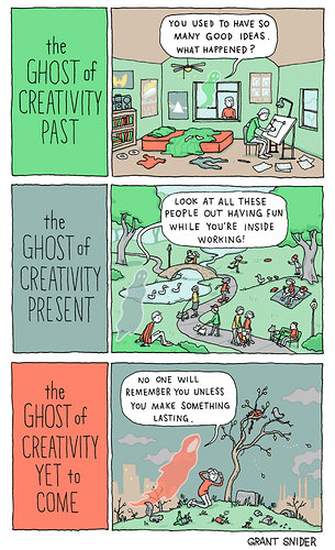 Comic strip of the Ghost of Creativity Past
