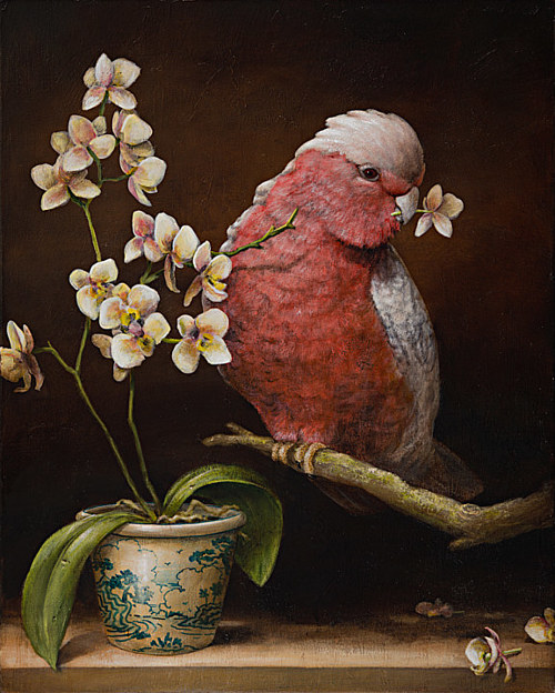 A painting of a bird pulling flowers off a branch