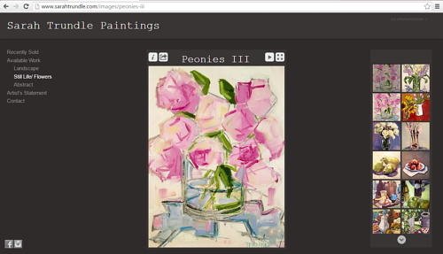 The still life and flowers gallery on Sarah Trundle's art website