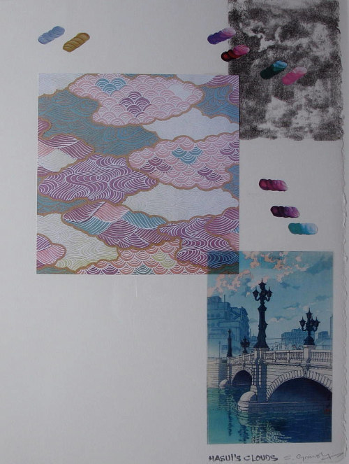 A mixed media collage work featuring smaller works mounted on a neutral sheet