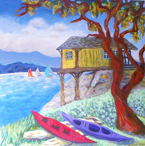 A painting of a house on the coast of an island