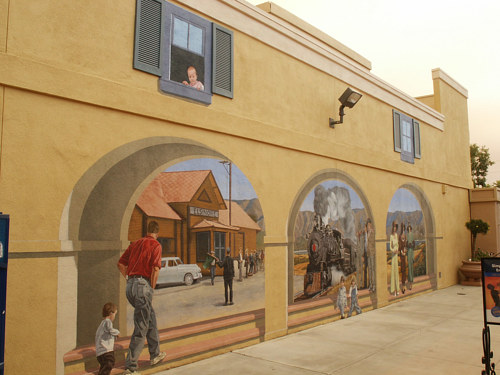 A photograph of a mural on an outdoor